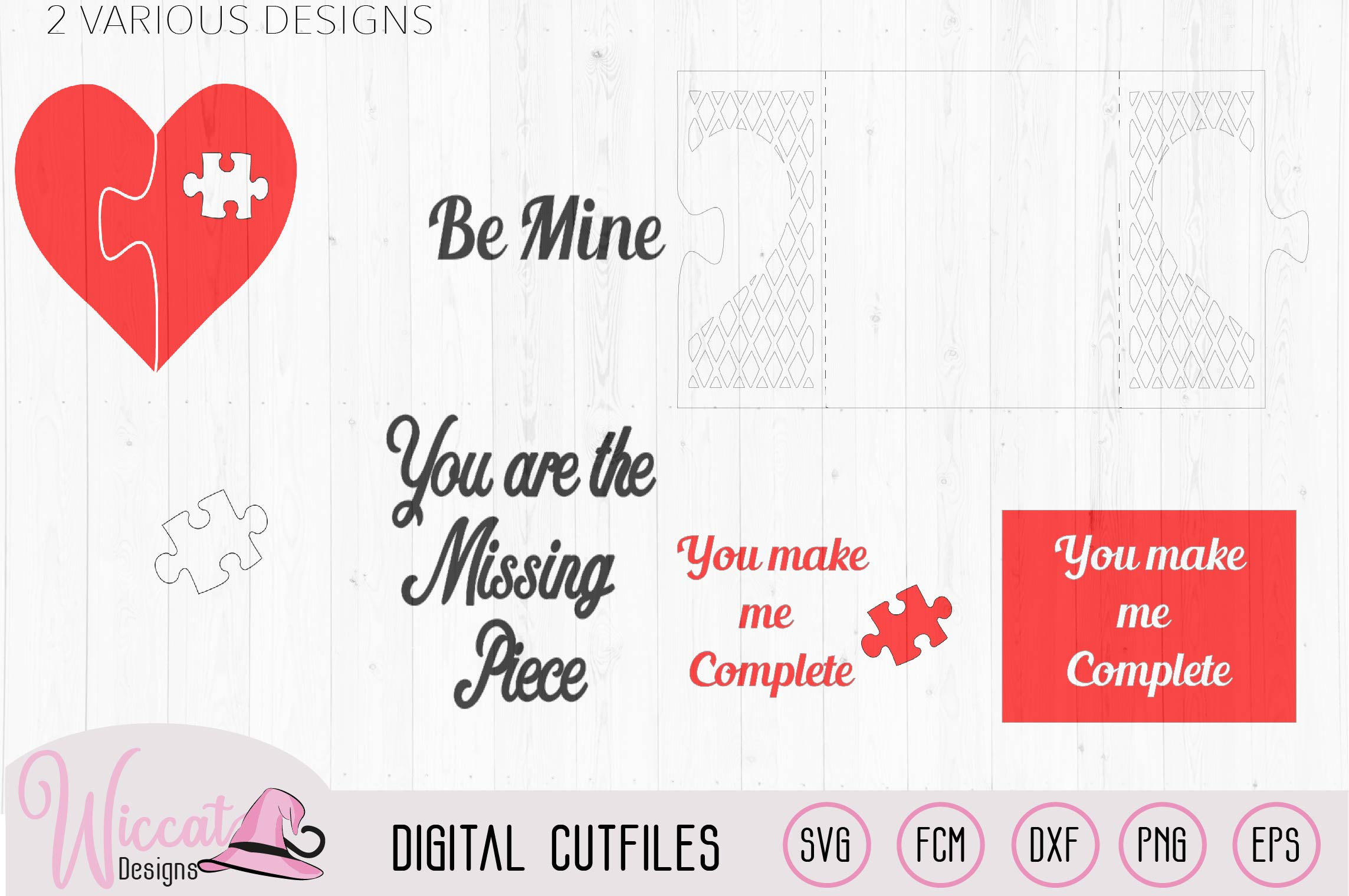 Valentine puzzle card svg, template svg, Heart card svg example image 2