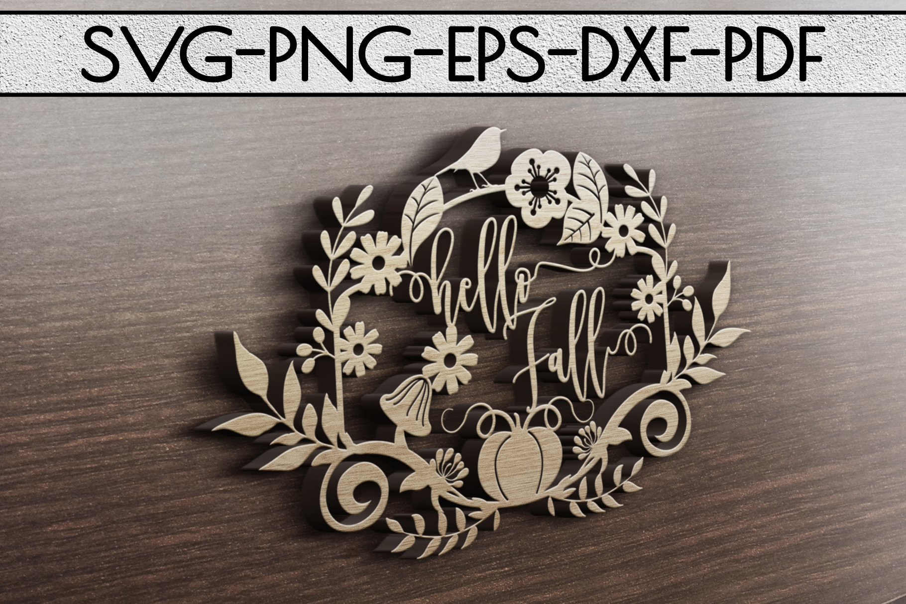 Hello Fall SVG Cutting File, Leaves, Autumn DXF, EPS, PNG example image 4