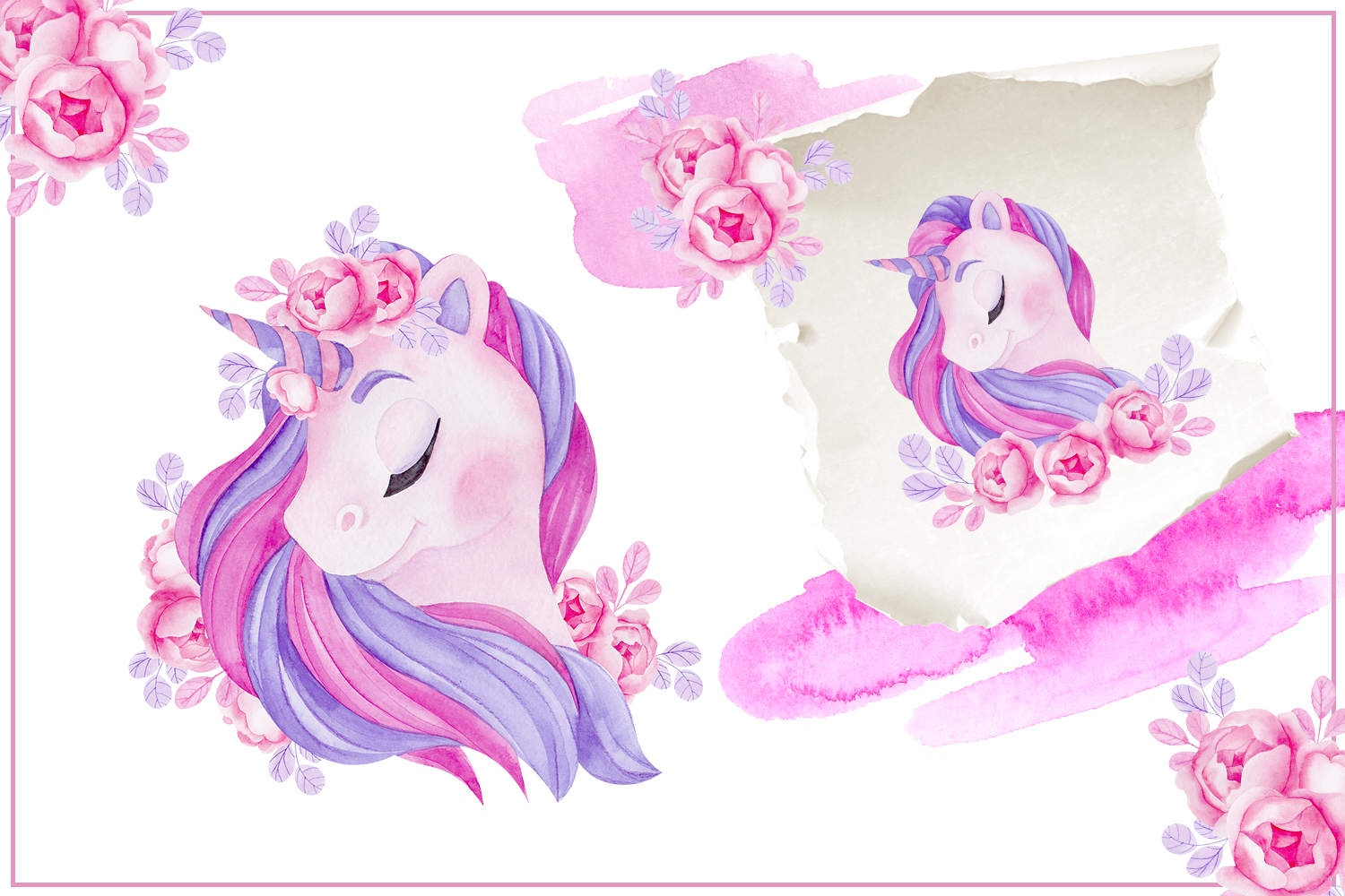 Cute unicorn. Illustrations and alphabet example image 5