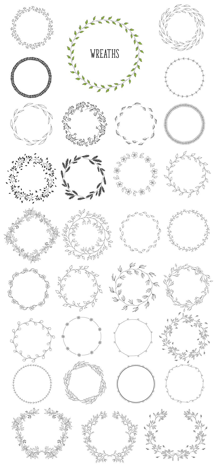 450 handsketched elements. Nature mega pack example image 6