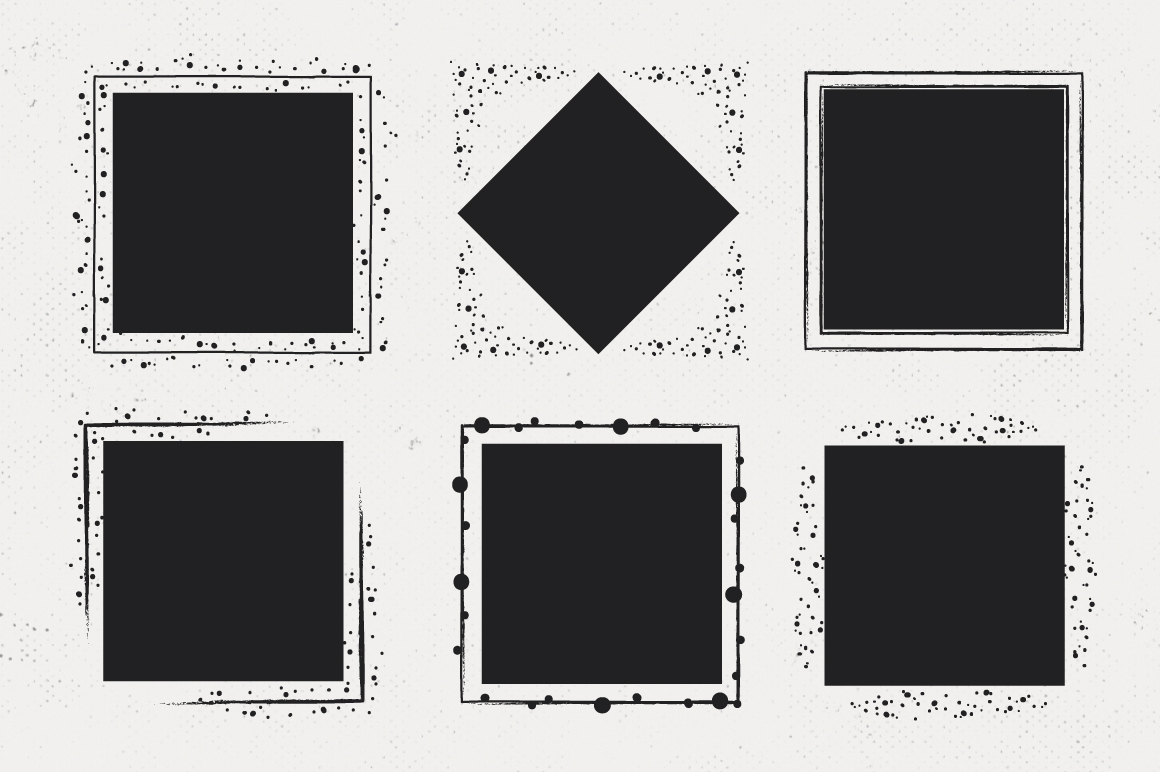 36 Hand Drawn Square Shapes - logo elements example image 6