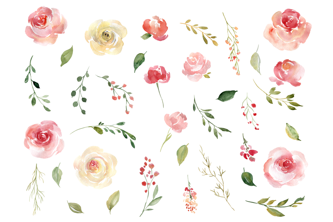 Blush Watercolor Flowers Roses Peony PNG Collection example image 2