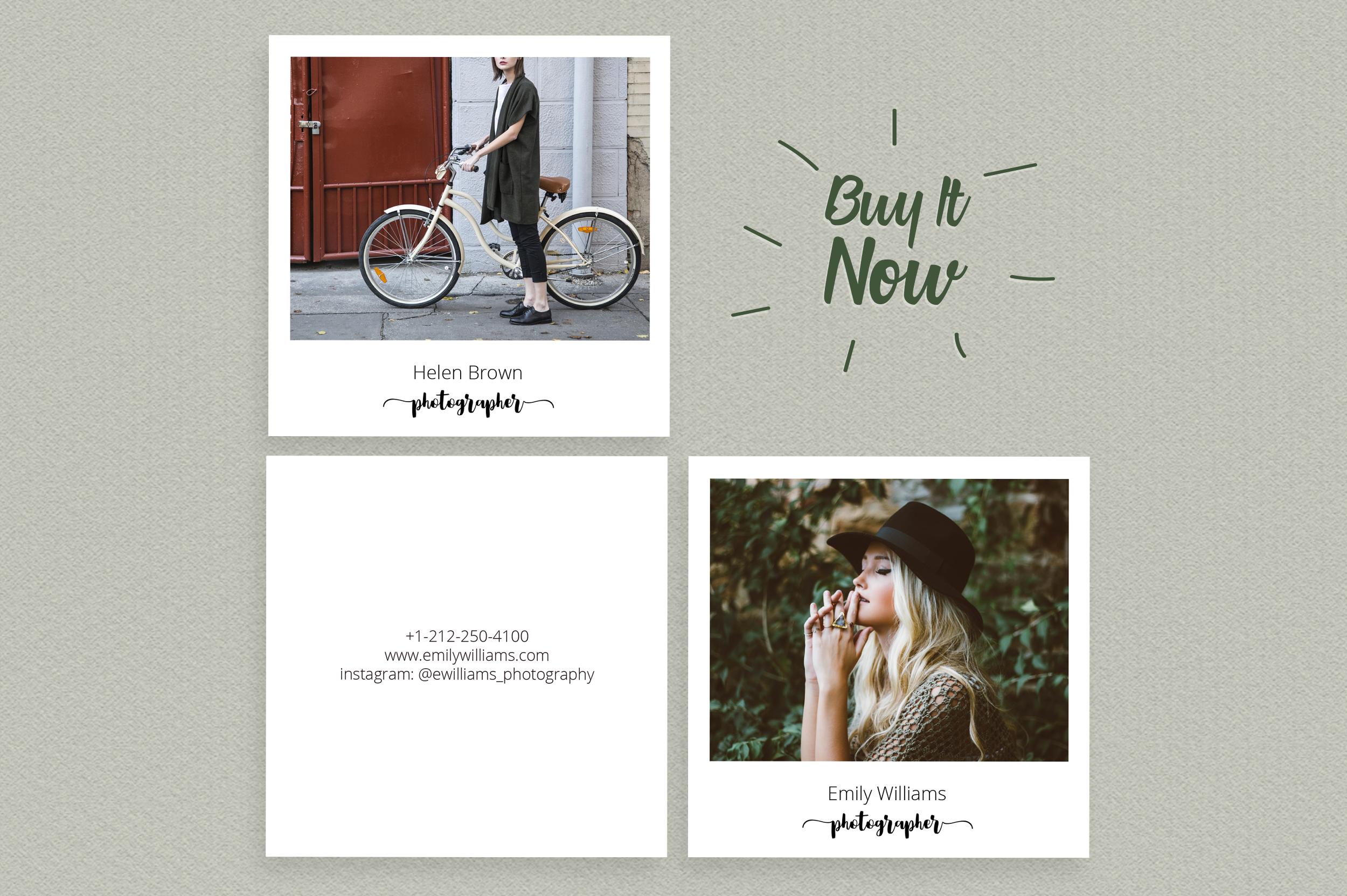 Square Polaroid Photographer Business Card example image 6