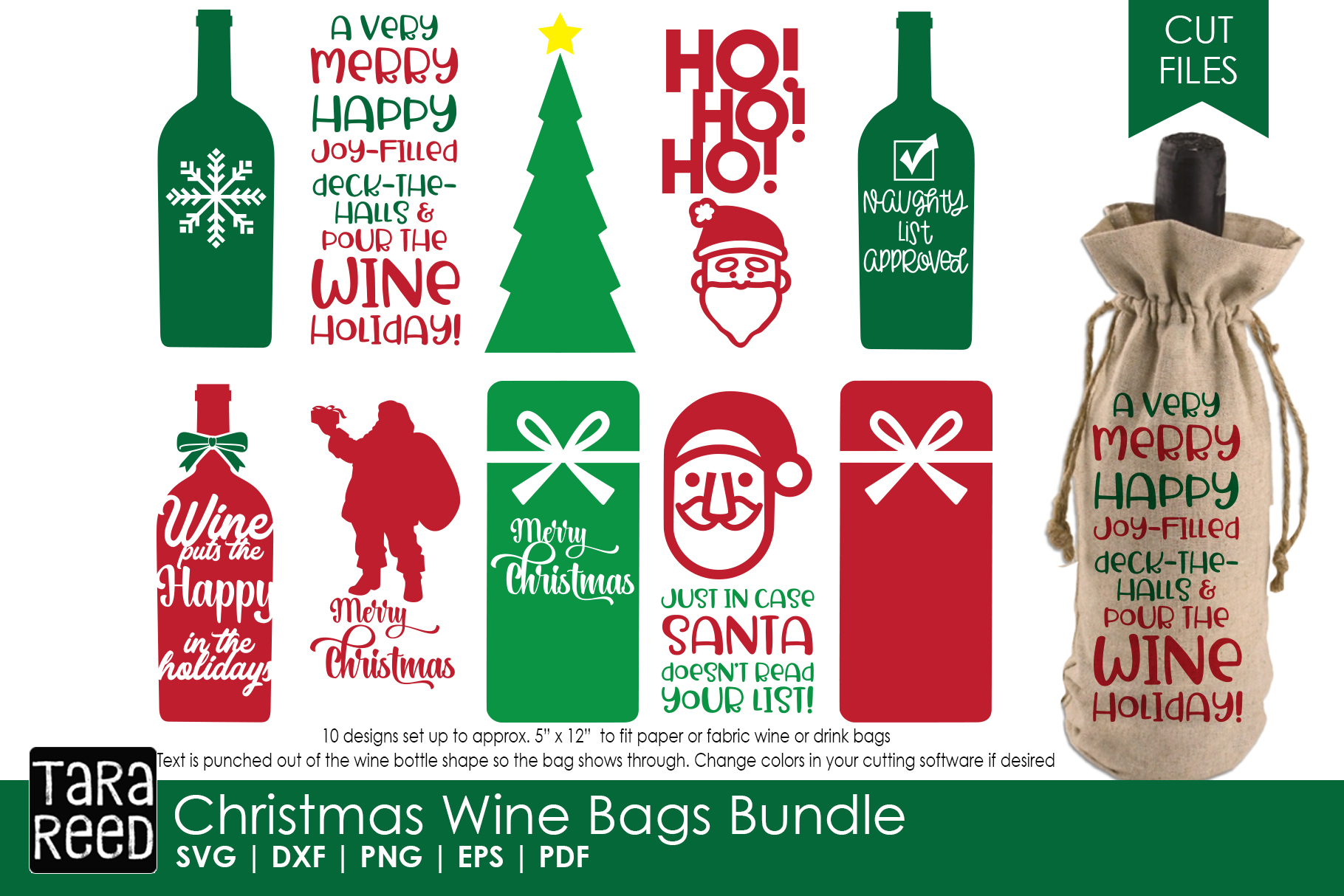 2 Santa Wine Bottle Christmas Holiday Gift Bags NWT
