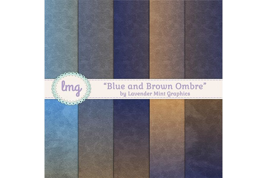 Blue and Brown Ombre Digital Papers example image 1