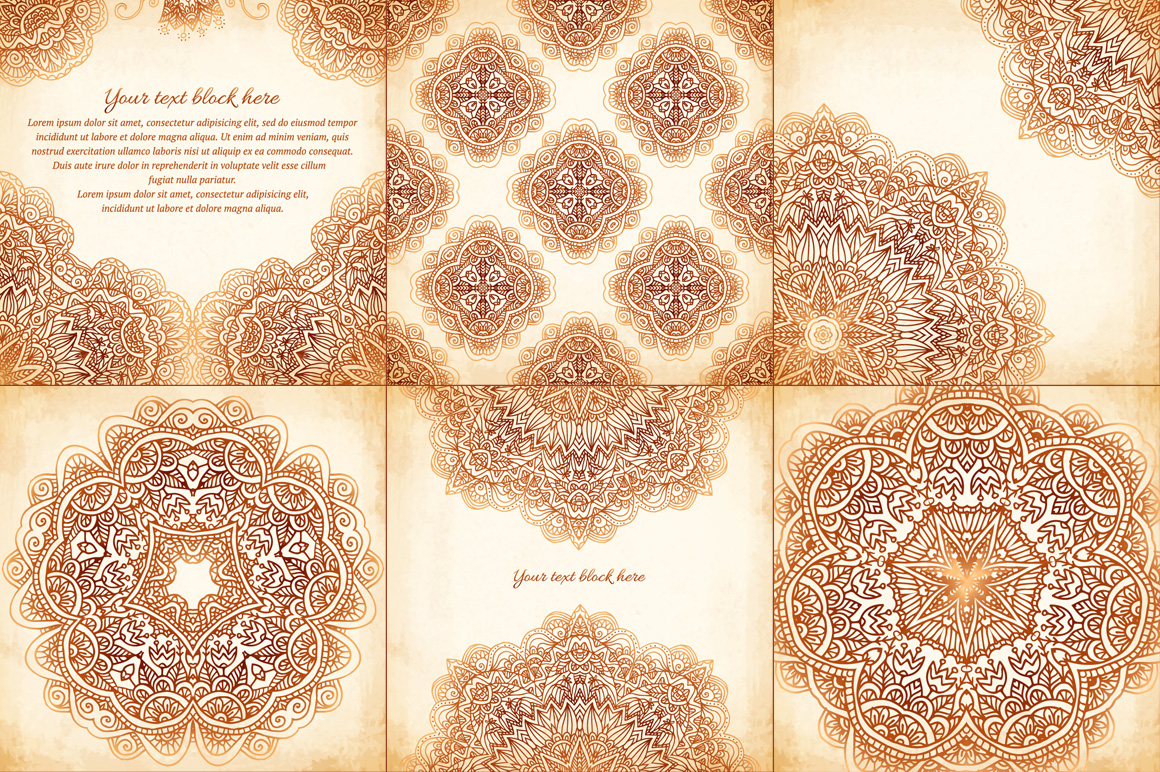 Set of 6 vintage vector backgrounds example image 3