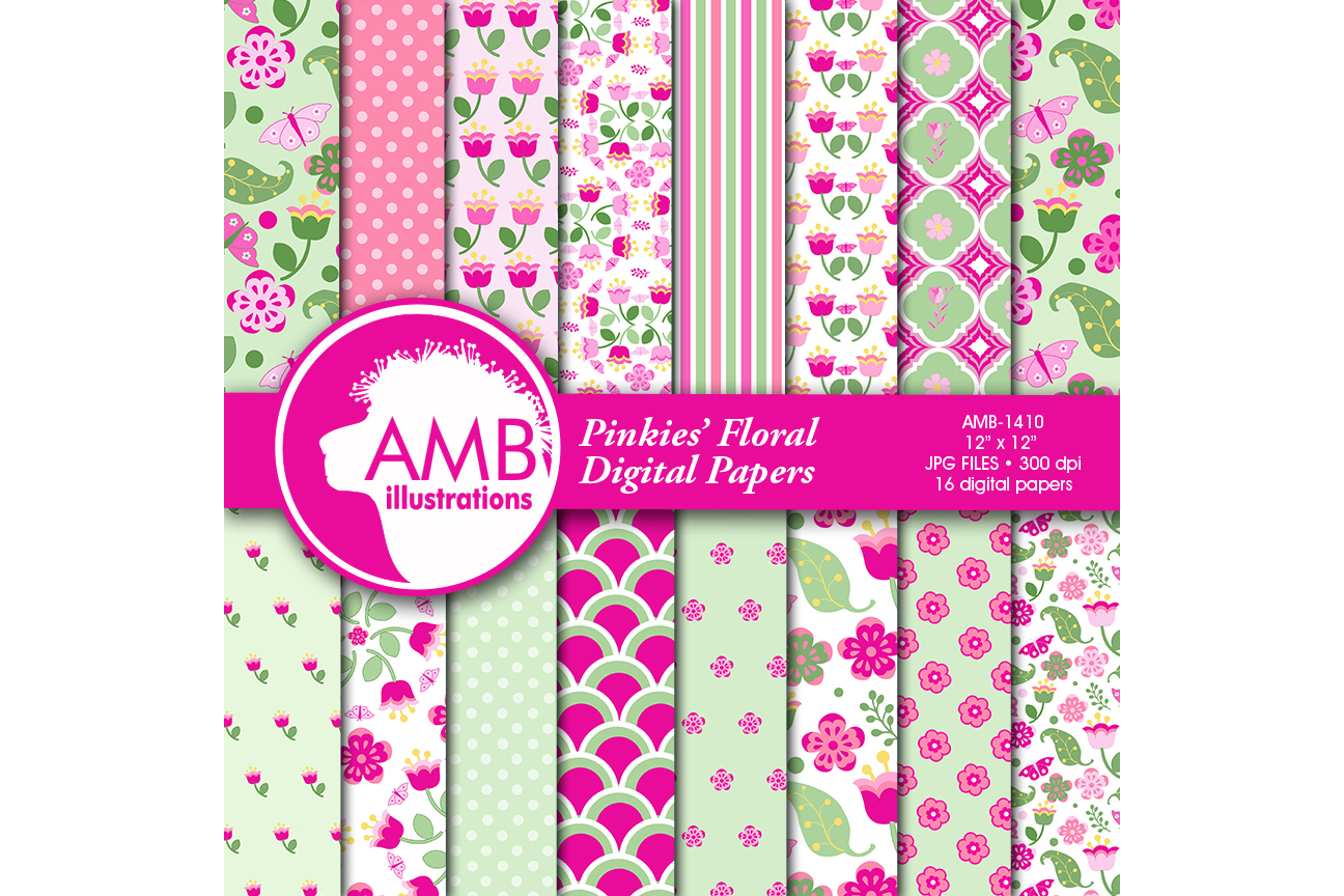 Shabby Chic papers, Pink floral Papers, Soft and bright pink floral pattern, Spring paper, commercial use, AMB-1410 example image 1
