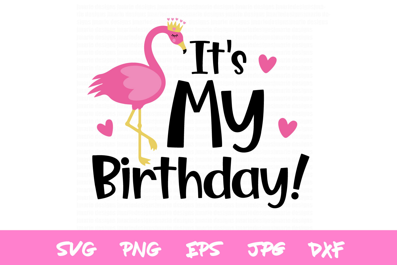 Birthday Svg, flamingo svg, girls birthday silhouette design example image 2