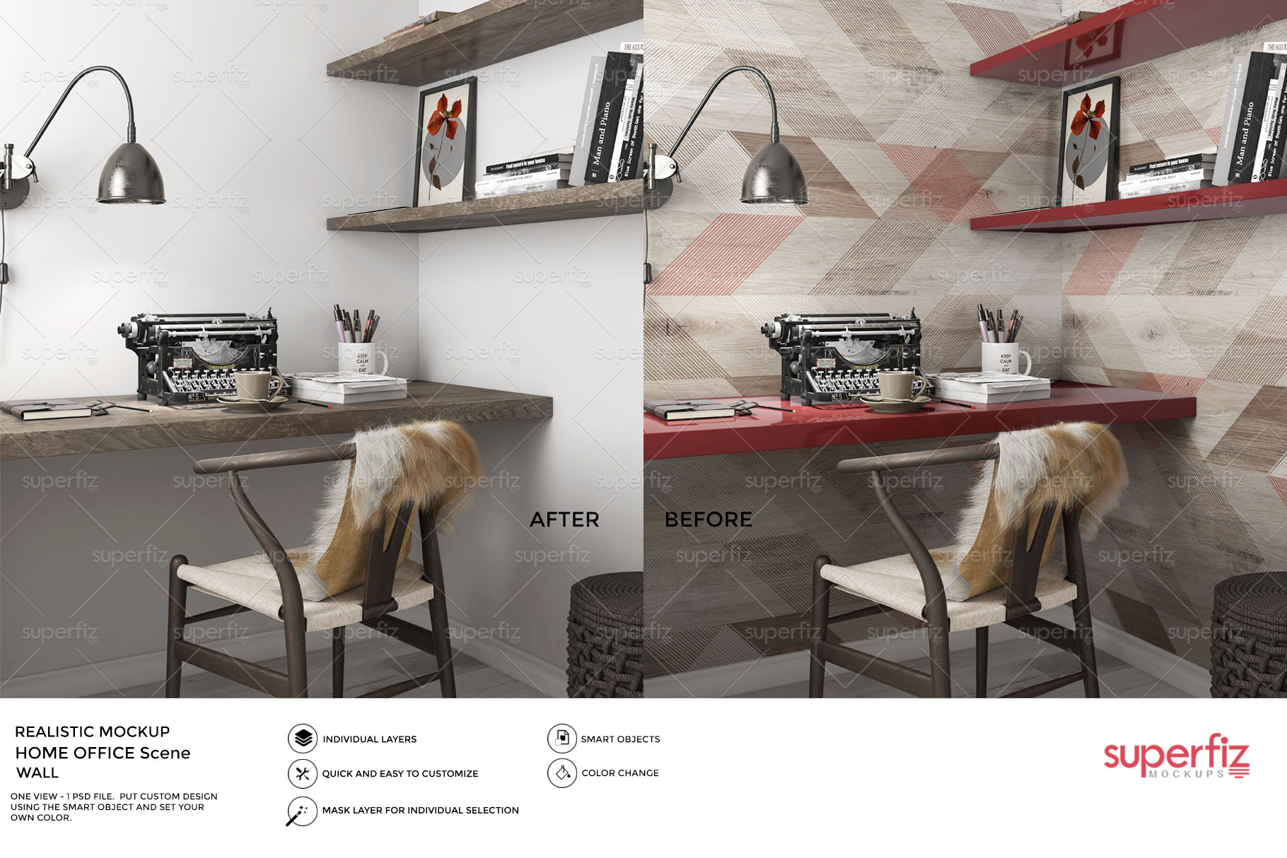 Blank Wall Mockup Home Office SM74 example image 2