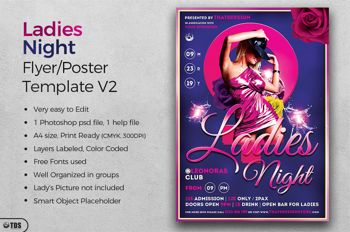 Ladies Night Flyer Template V2 example image 3