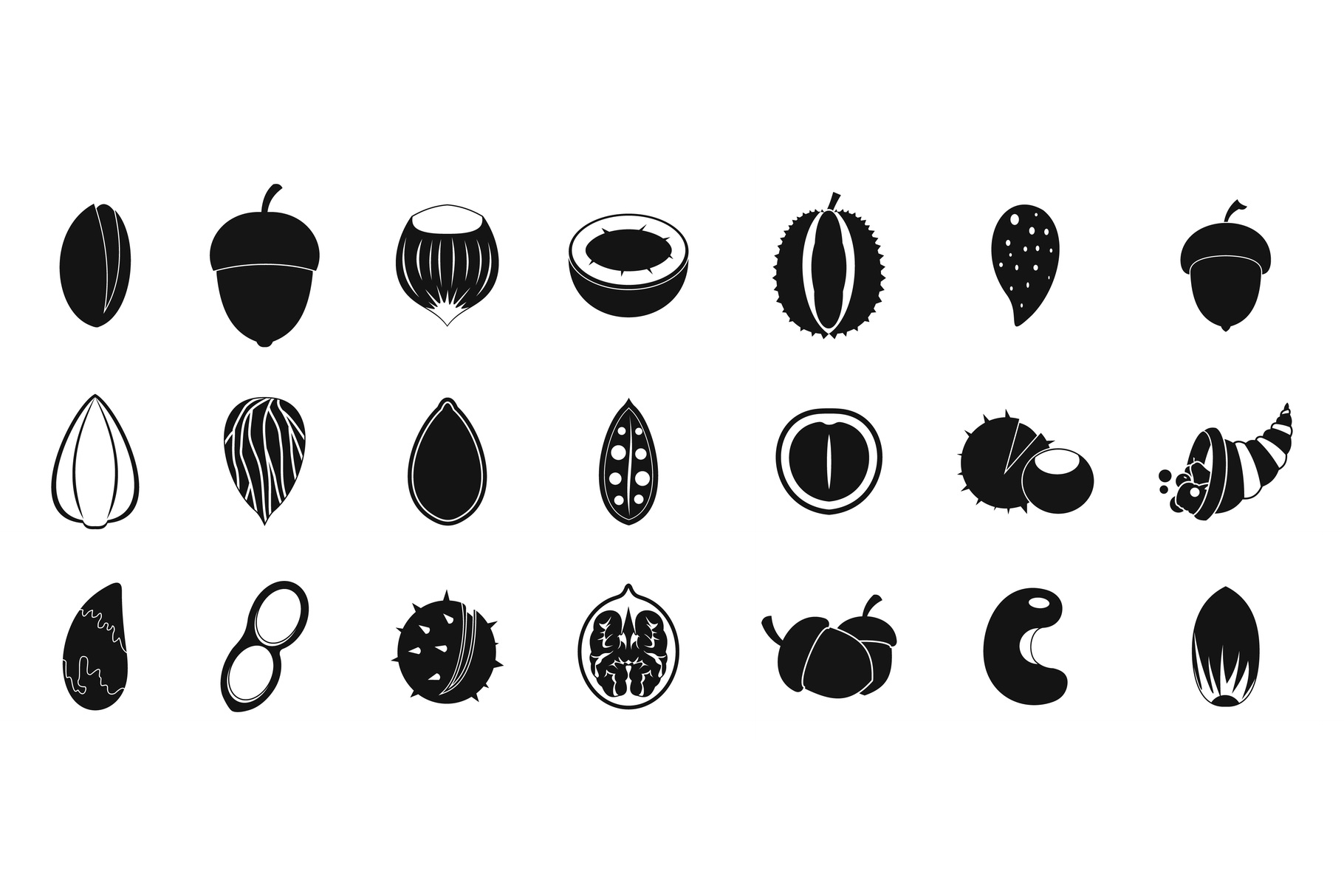 Nuts icon set, simple style example image 1