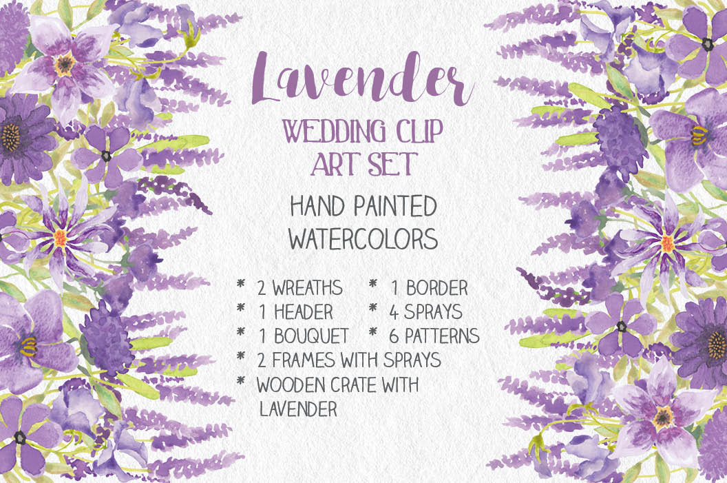 Watercolor clip art bundle in Lavender example image 1
