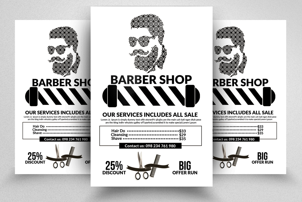 Barber Shop Psd Flyer Templates example image 1
