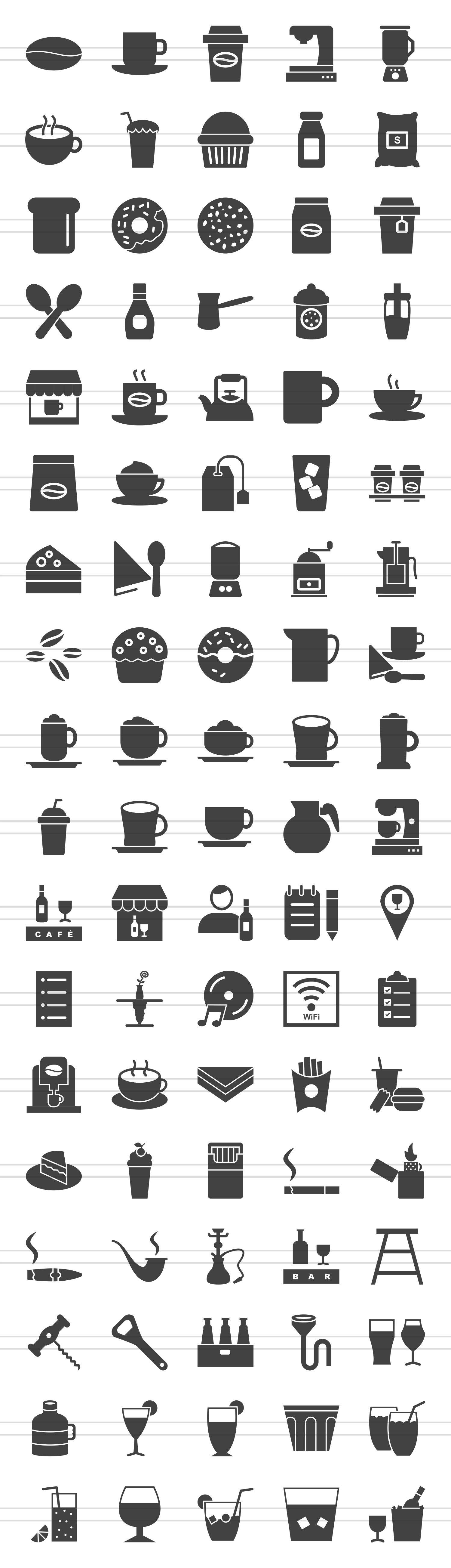 90 Coffee & Cafe Glyph Icons example image 2