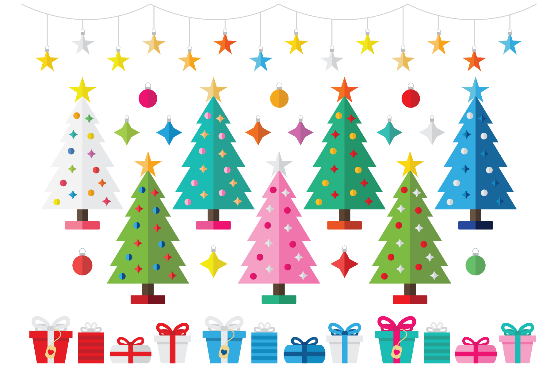 Colorful Christmas Tree Party Clip Art Set example image 1
