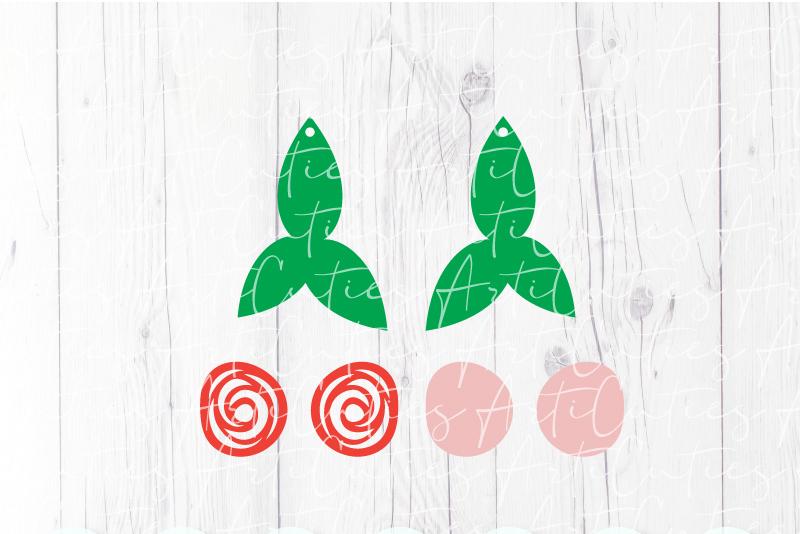 Flower earrings template SVG, DIY earrings template example image 2