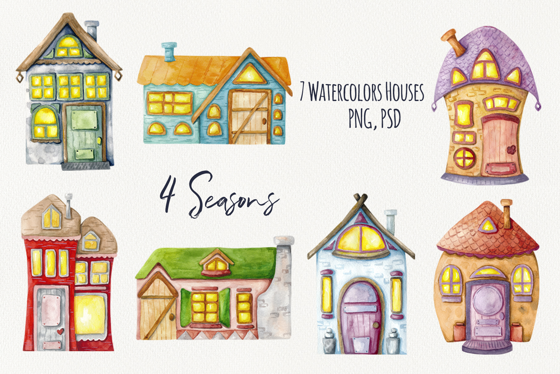 4 Seasons - Watercolor Houses example image 2