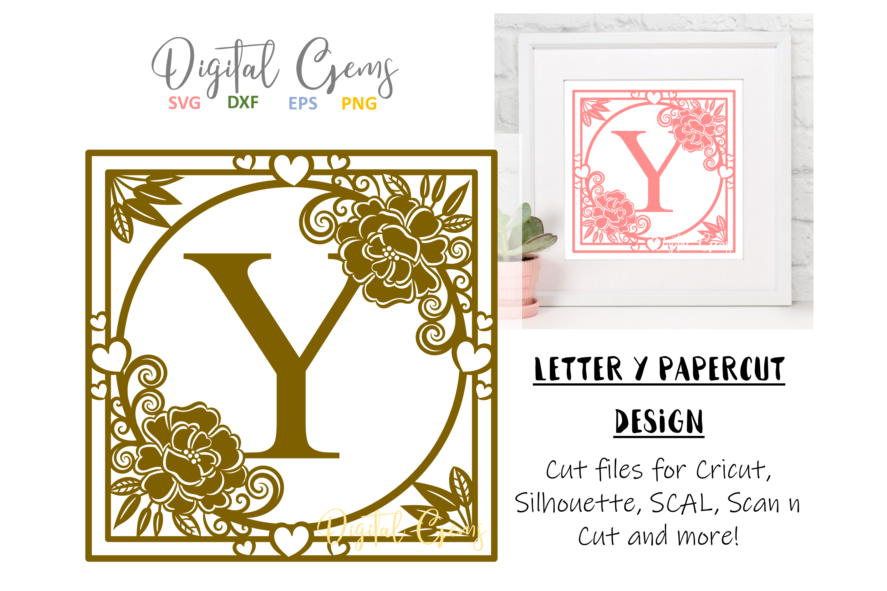 Letter Y papercut design. SVG / DXF / EPS files example image 1