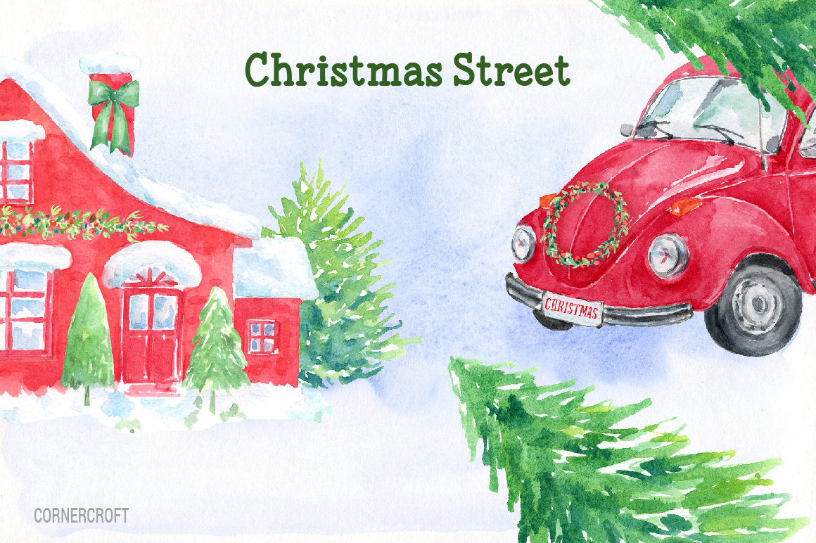 Watercolor Christmas Street  example image 6