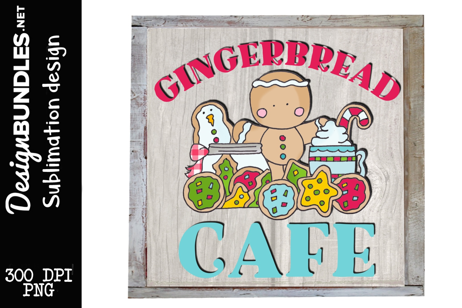 Gingerbread Cafe Sublimation Design example image 1