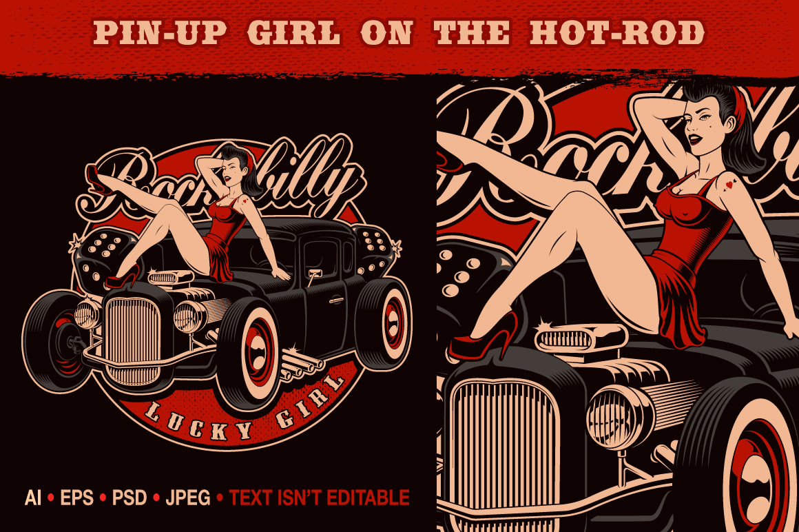 Pin-up Girl on the Hot-rod example image 1