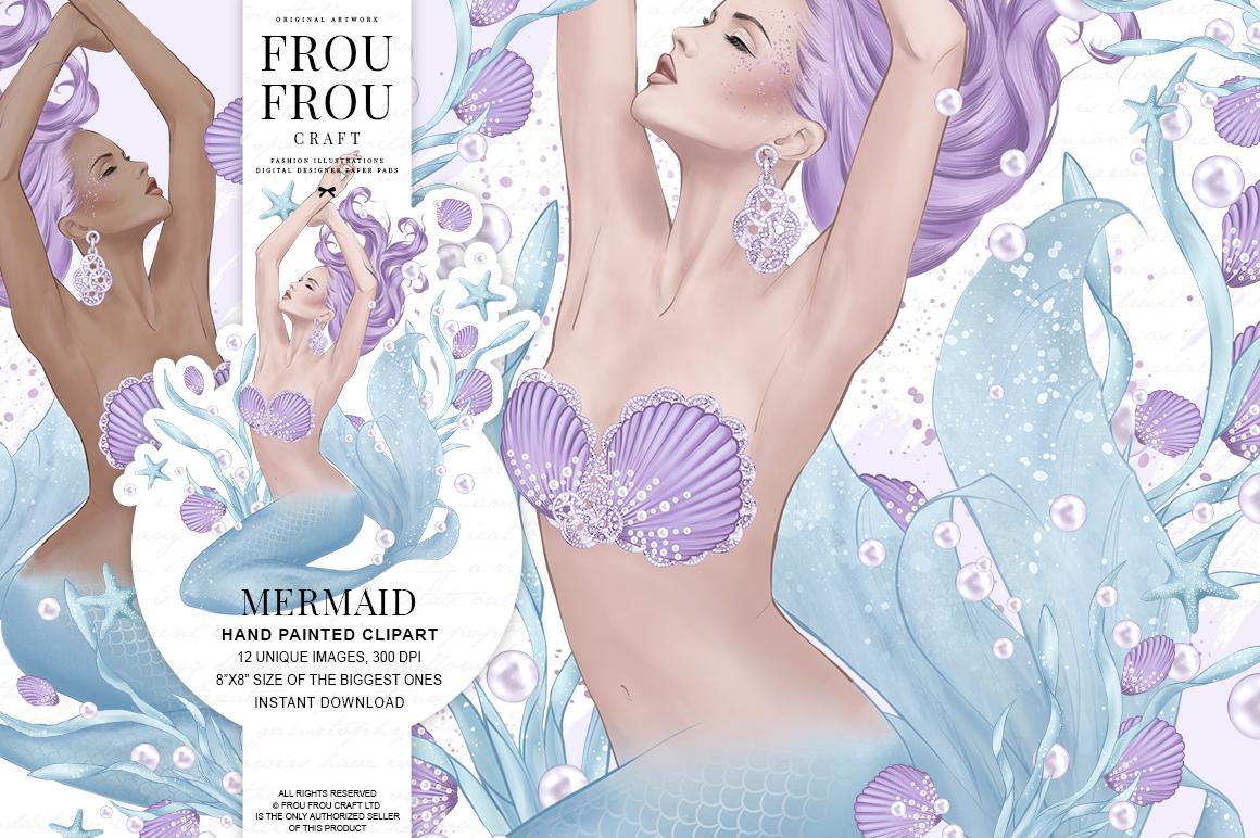 Mermaid Fairy Tale Sea Shell Ocean Clip Art example image 1
