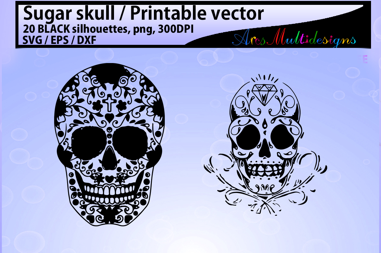 sugar skull silhouette / 20 sugar skull / sugar skull SVG / EPS /Dxf / vector skull / PNG /colored / Hq / colored skull / silhouette svg example image 2