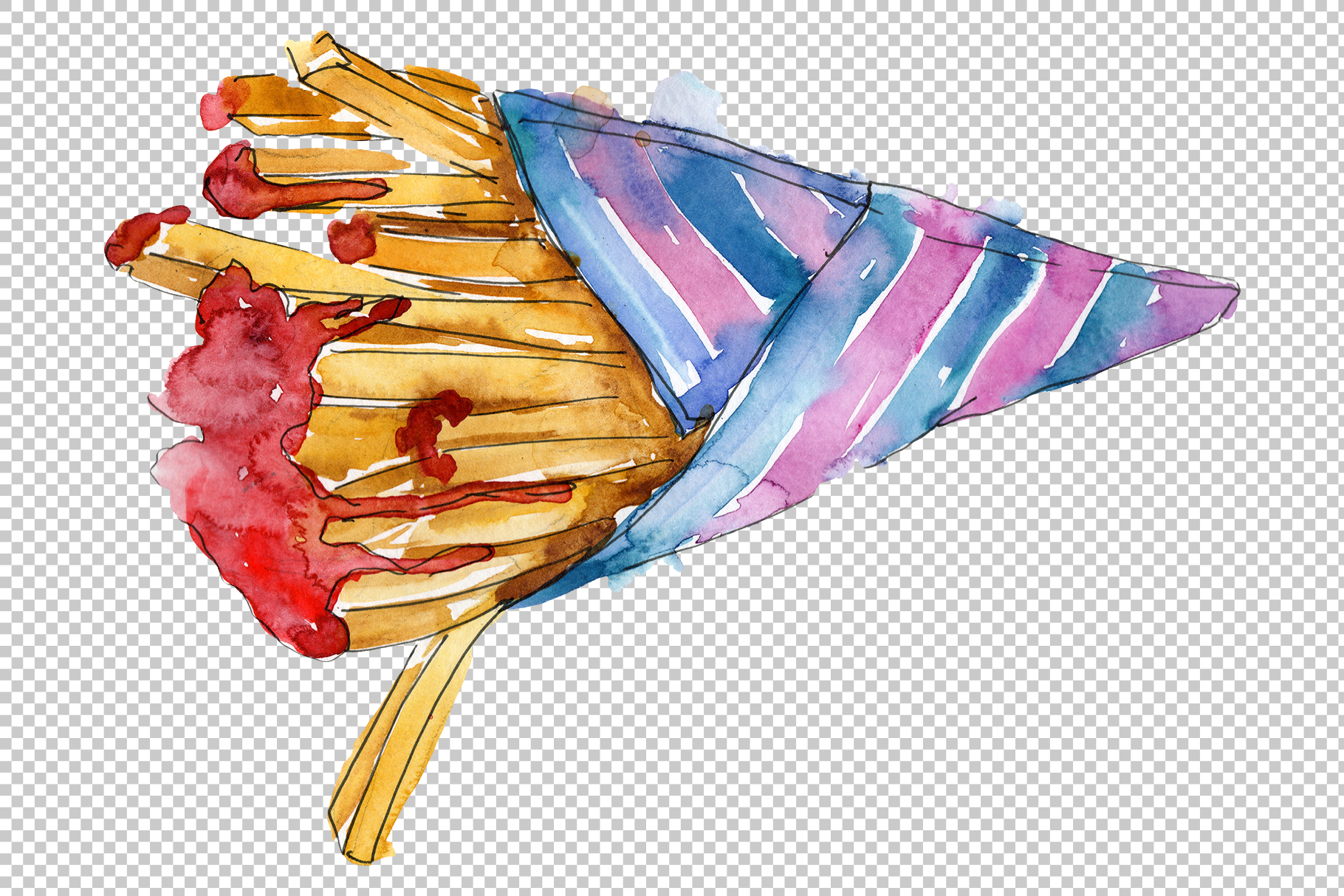 French fries Watercolor png example image 4