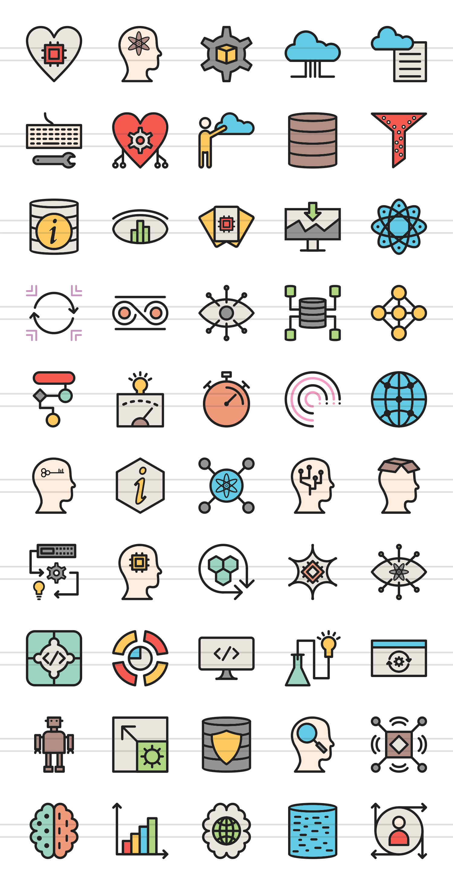 50 Data Analytics Linear Multicolor Icons example image 2