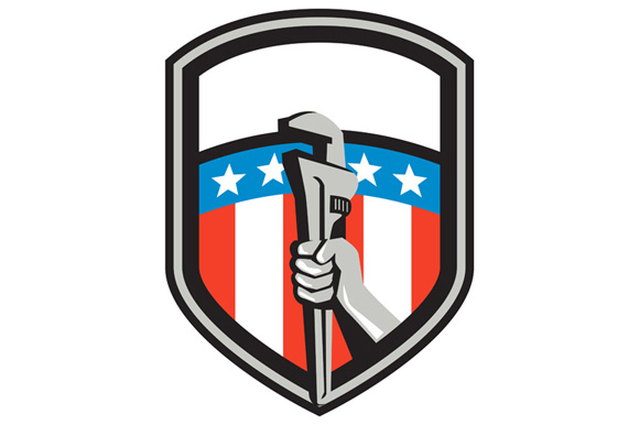 Plumber Hand Pipe Wrench USA Flag Shield Retro example image 1