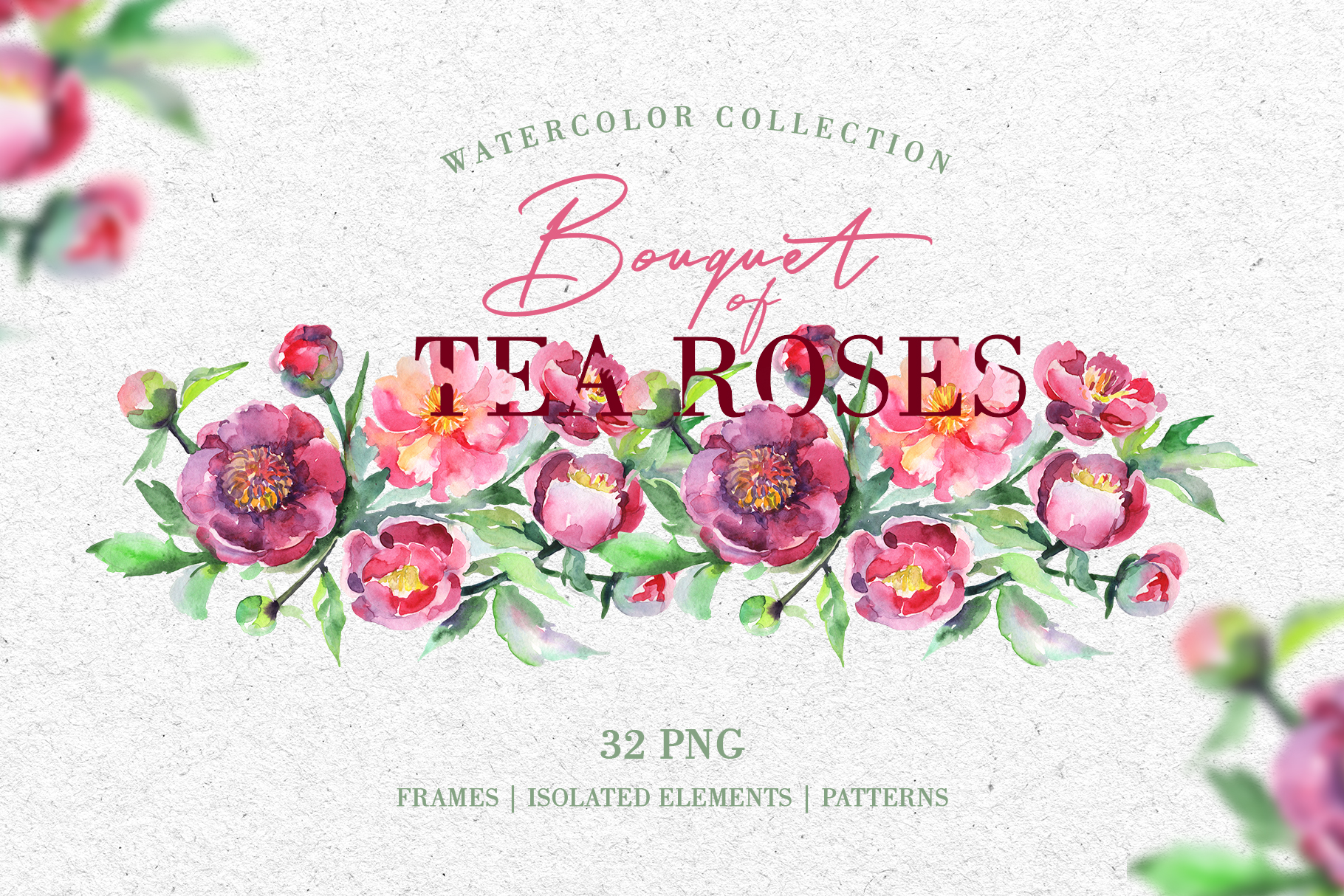Bouquet of tea roses pink Watercolor png example image 1