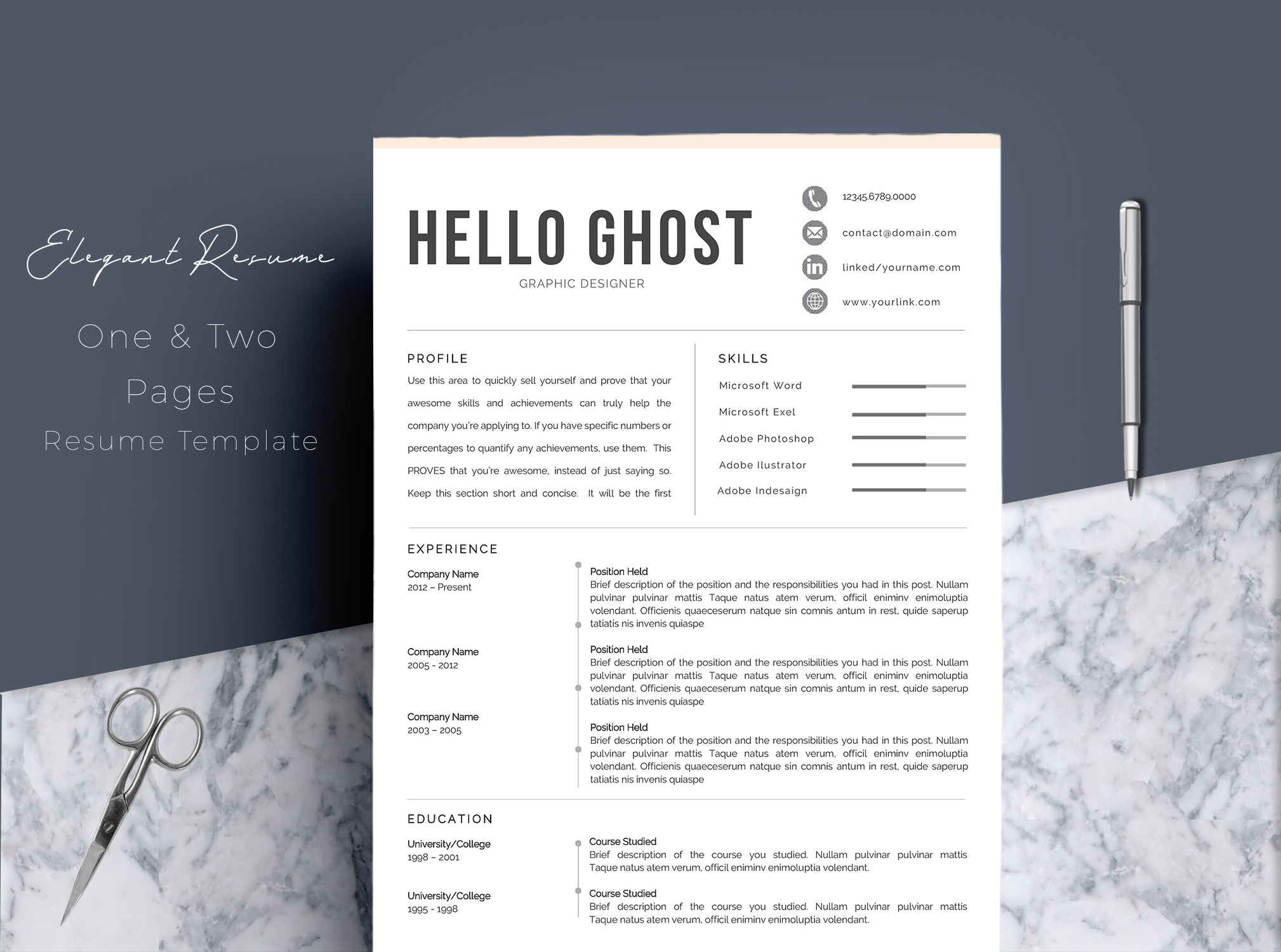 Modern Resume Template 4 Pages Design example image 1