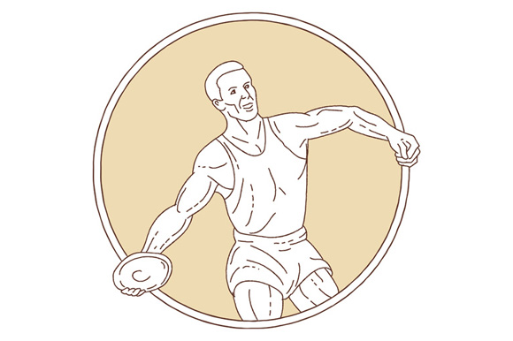 Track and Field Discus Thrower Circle Mono Line example image 1