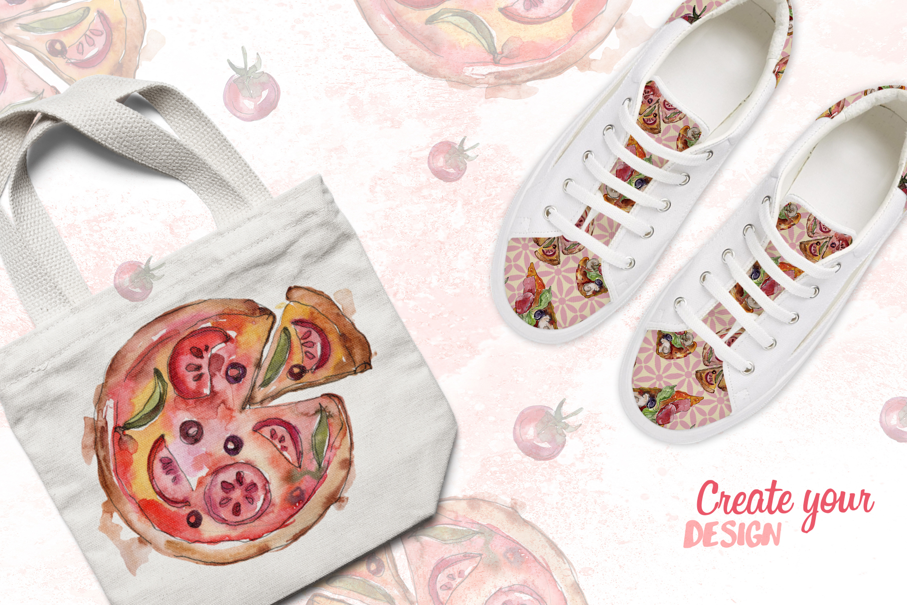 Pizza Watercolor png example image 2
