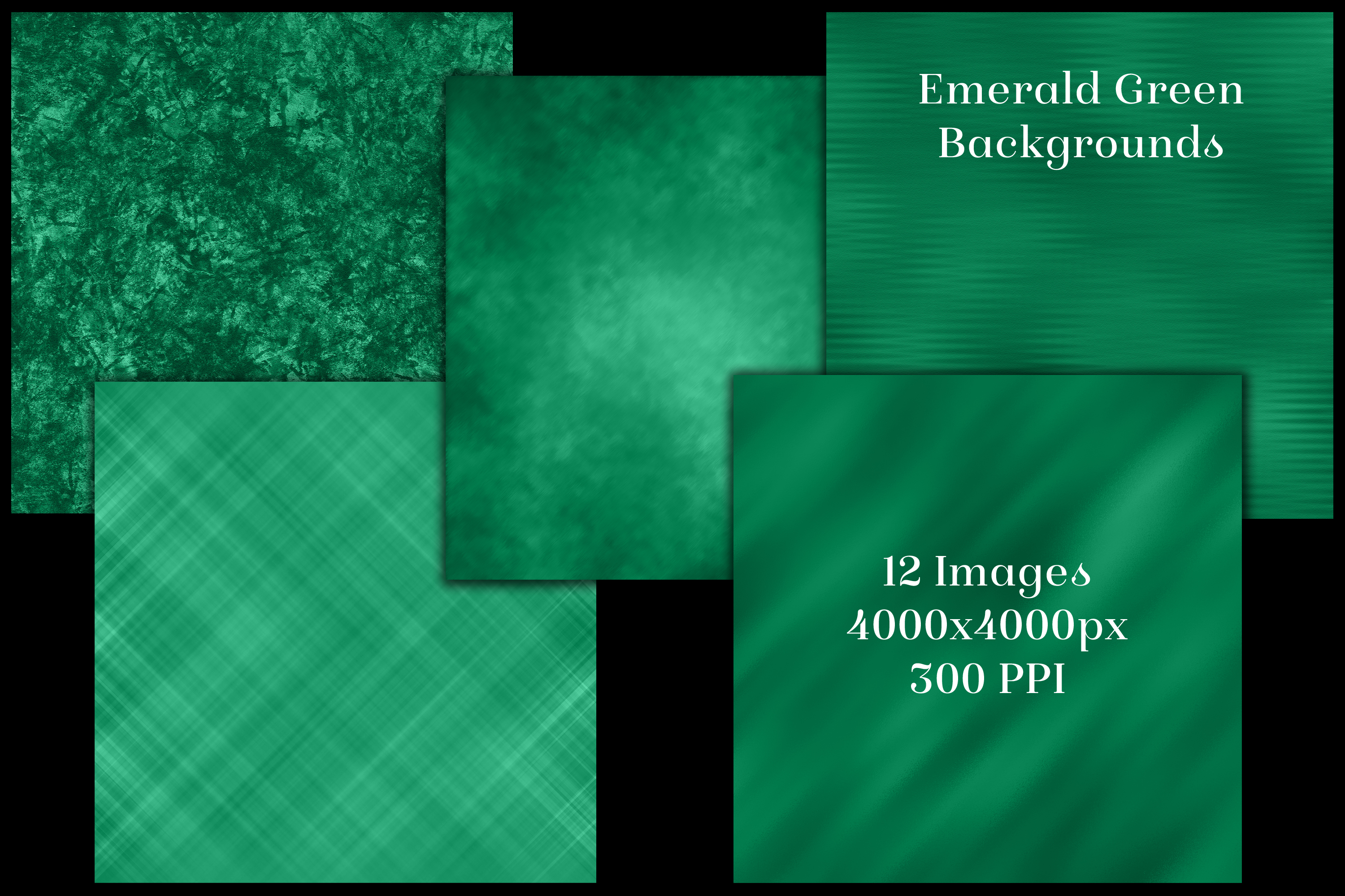 Emerald Green Backgrounds - 12 Image Textures Set example image 2