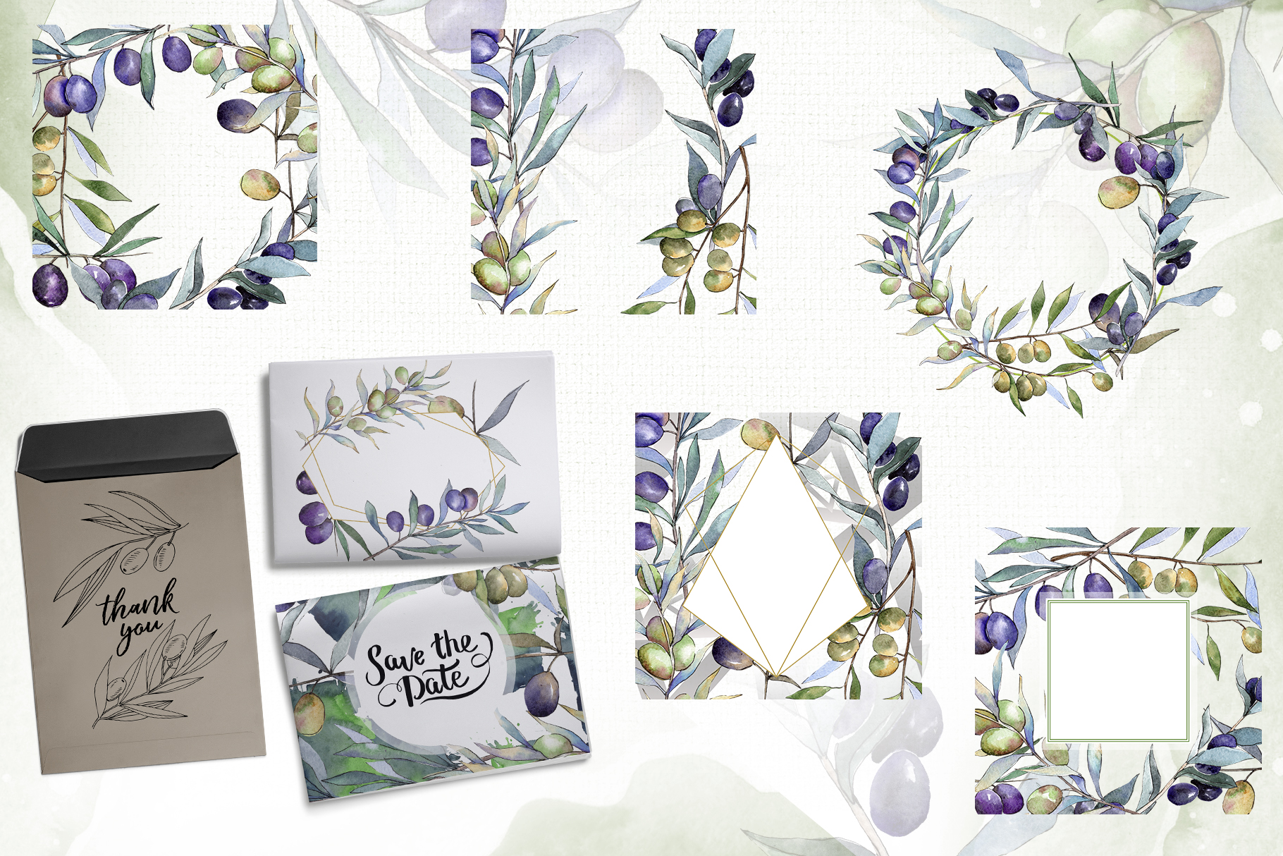 Olive branches collection Watercolor png example image 2