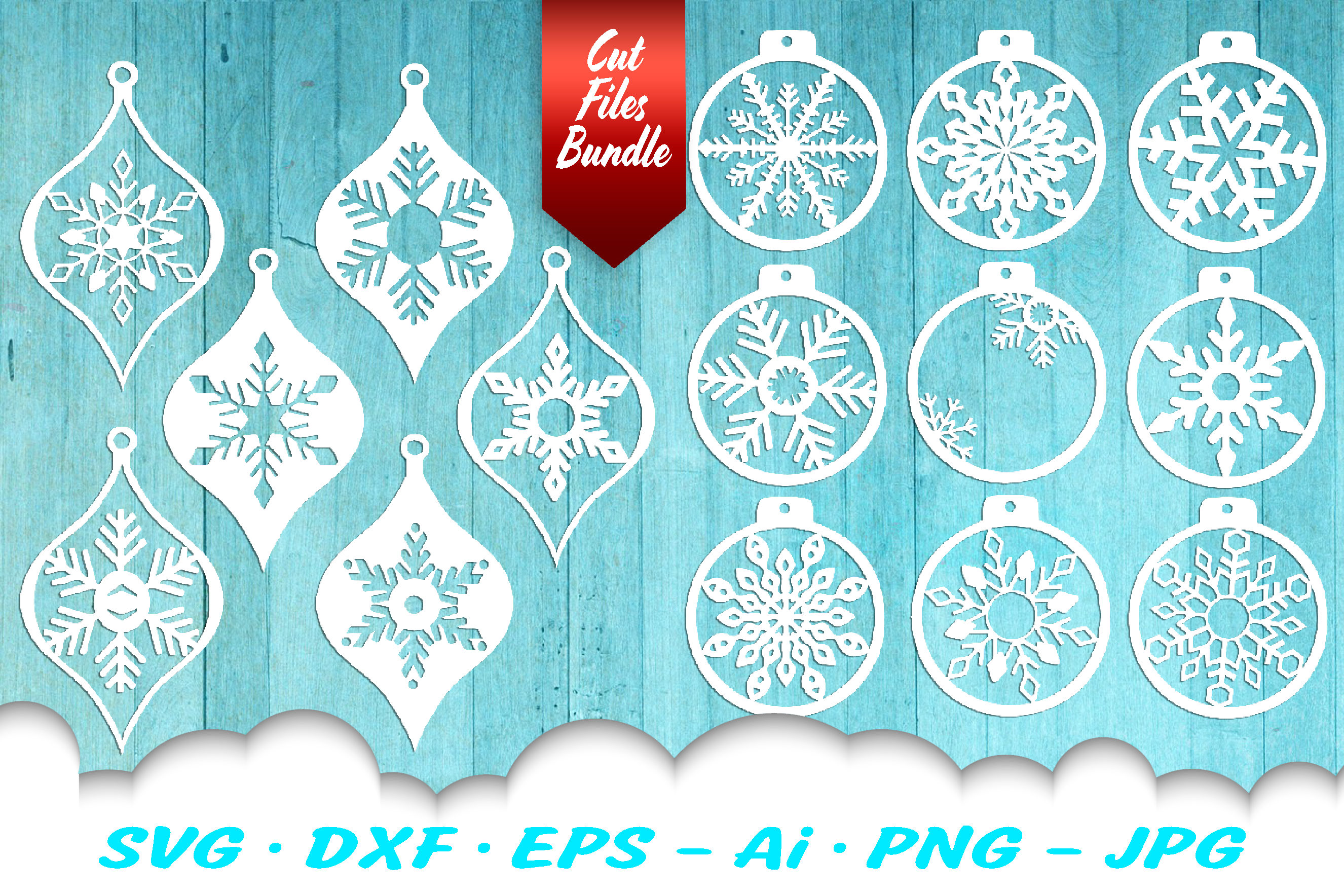 Snowflake Christmas Ornament Earring SVG DXF Cut Files example image 1