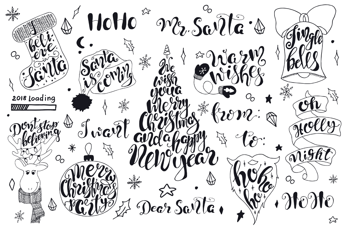 Merry Christmas quotes Lettering set example image 5