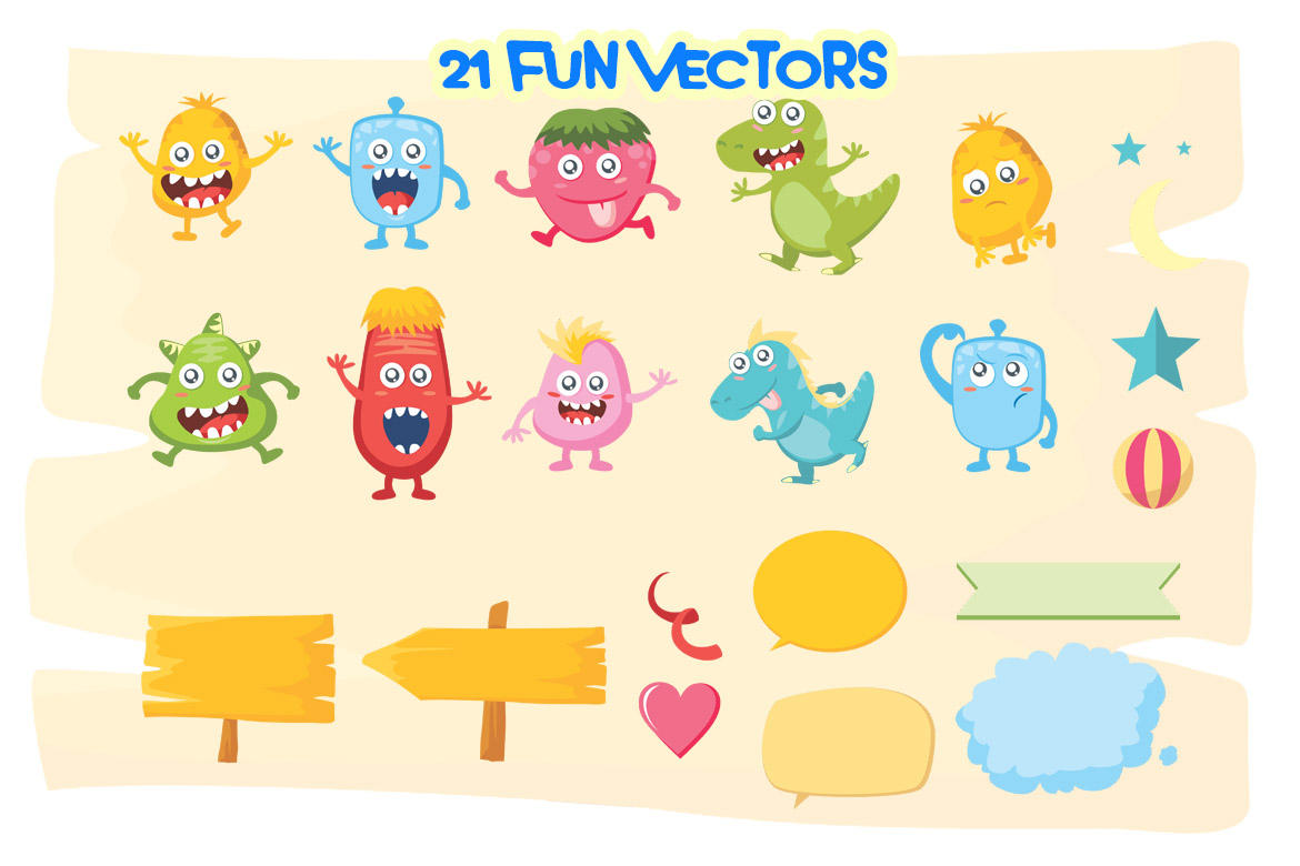 Monster World Font Family & Fun Vector Pack example image 9