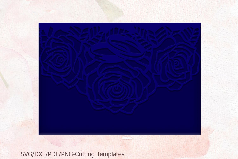 Roses wedding invitation Tri Fold Pocket Envelope set svg example image 6