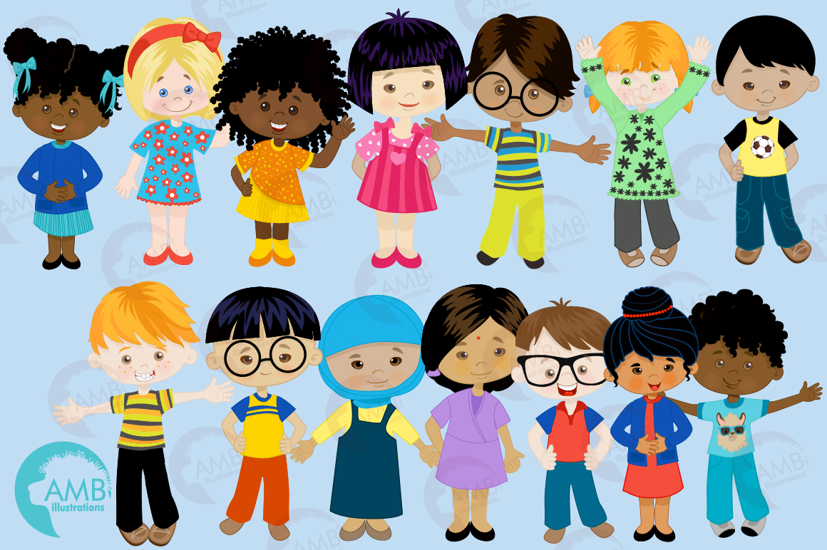 Multi-cultural kids series 1, clipart, graphics and illustrations AMB-2317 example image 5