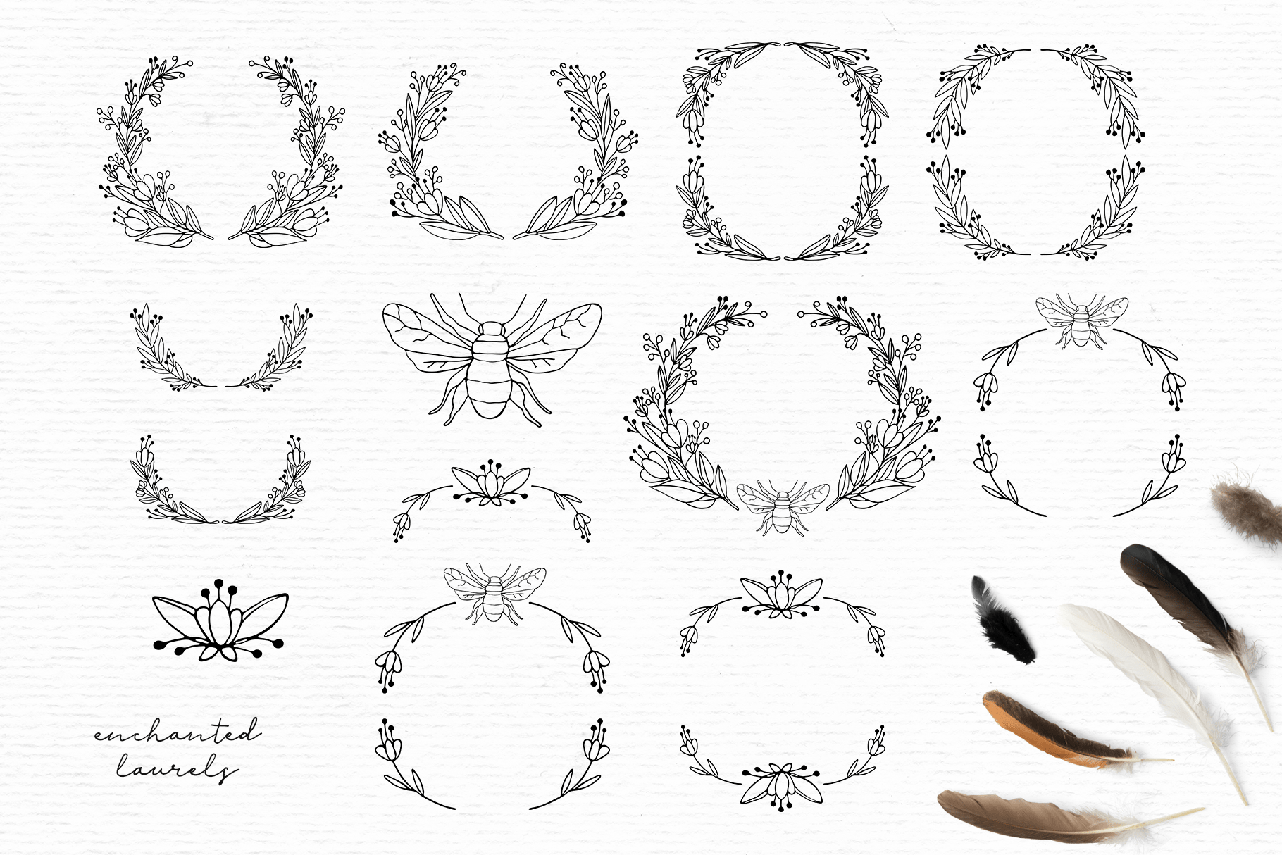 Doodle wreath clipart, digital stamps, botanical clipart example image 2