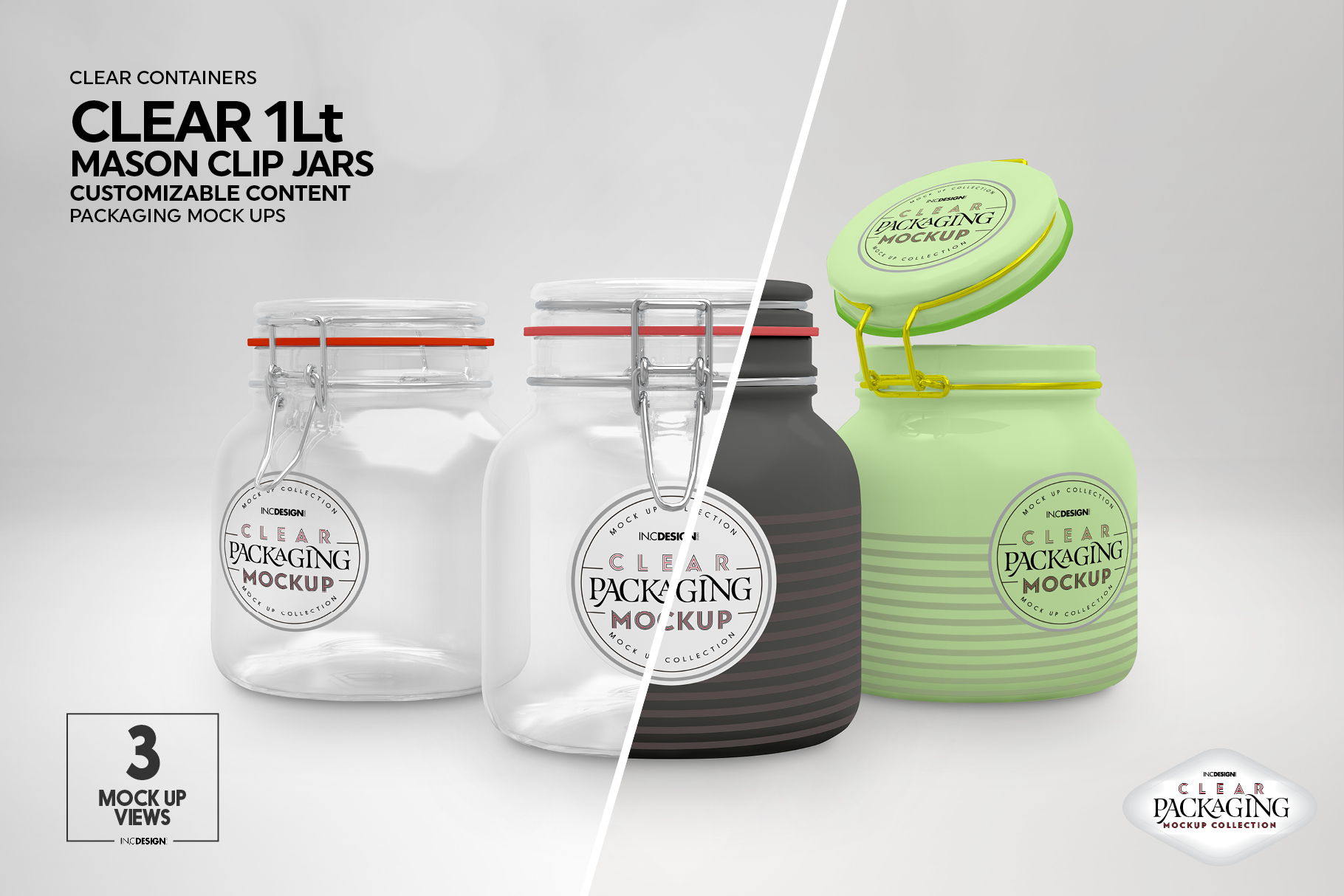 Clear 1Liter Mason Clip Jar Packaging Mockup example image 7