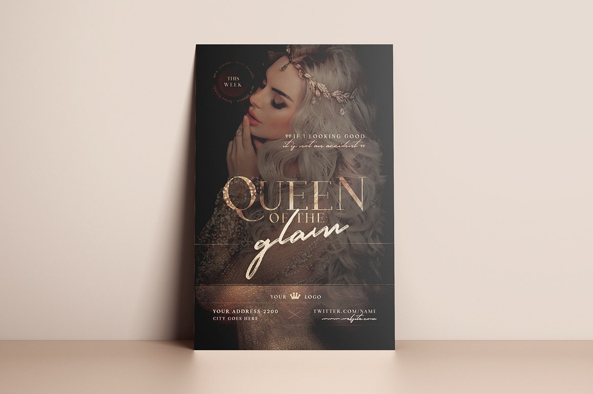 Queen Of The Glam Flyer Template example image 3