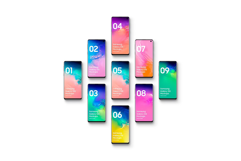 Samsung Galaxy S10 - 21 Mockups - 5K - PSD example image 26