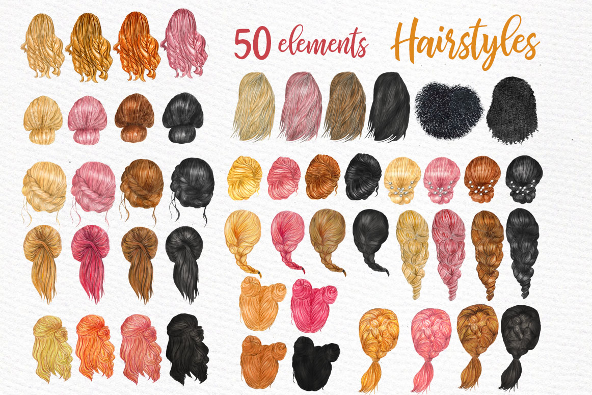 Hairstyles clipart Custom hairstyles Long hair Planner Girls example image 1