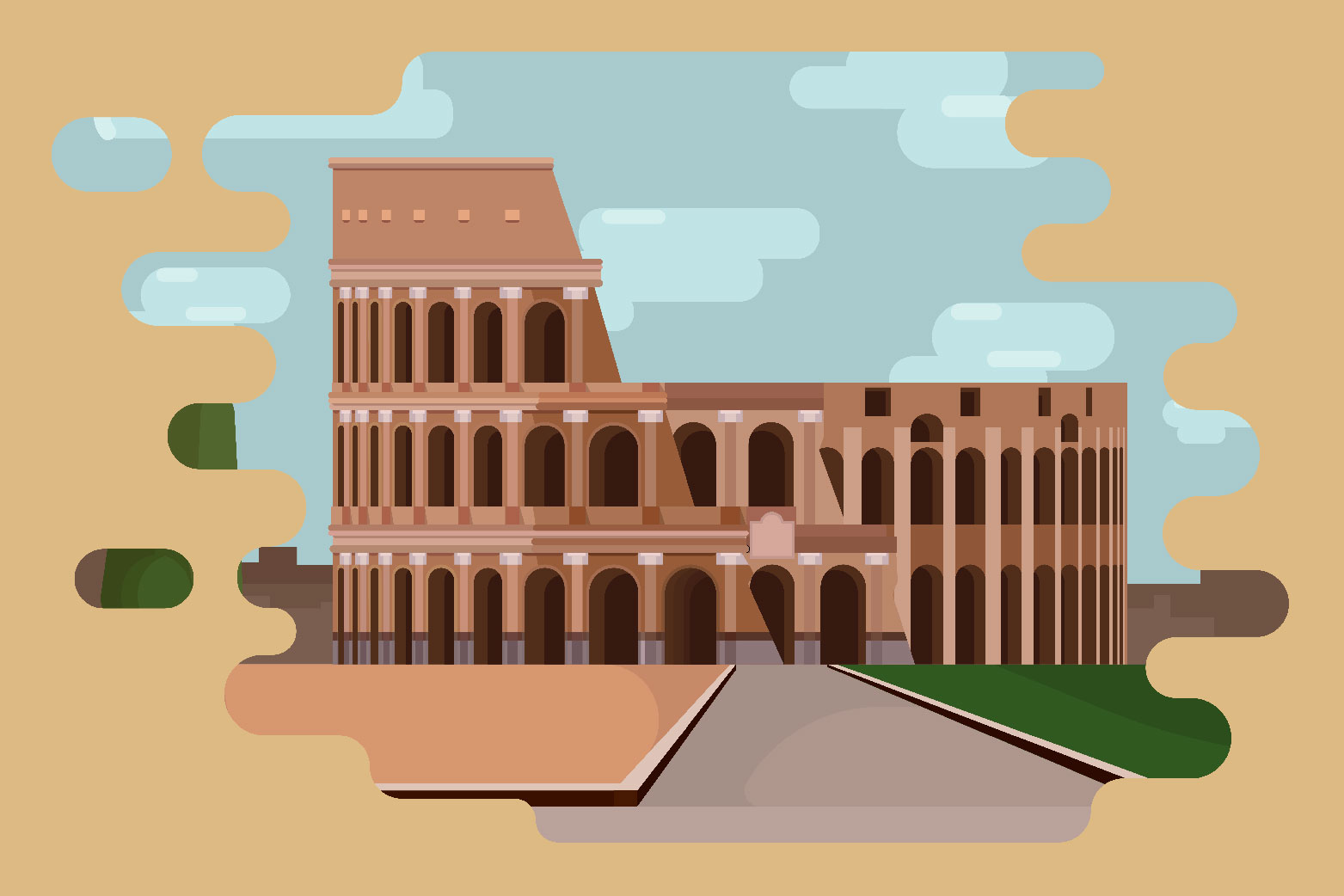 Word wide - Architectural landmarks illustrations example image 4