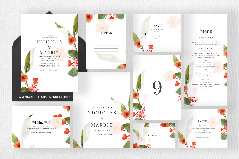 Watercolor Floral Wedding Suite example image 1