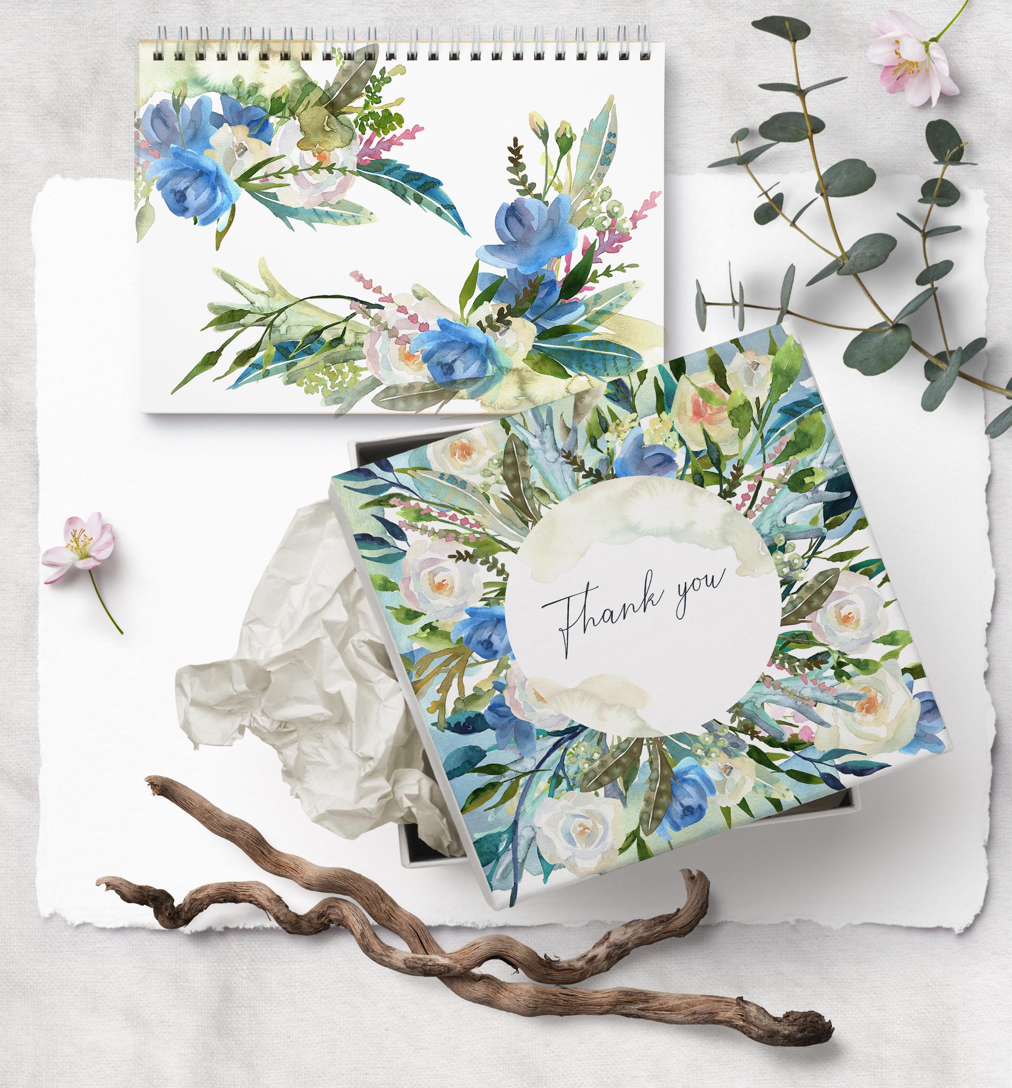 Watercolor floral wedding bouquets, boho compositios wreath example image 8