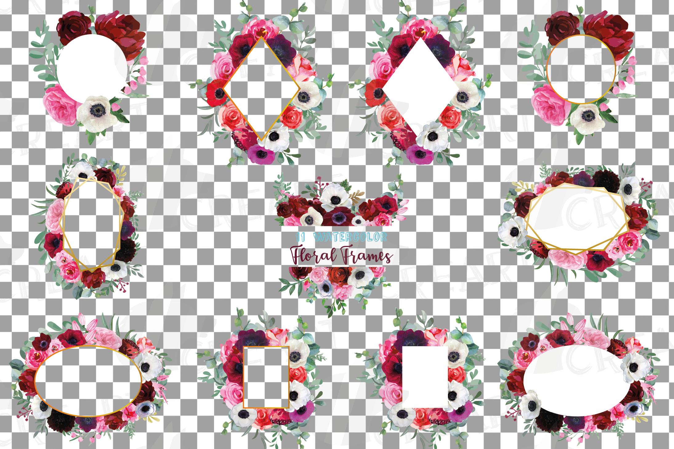 Watercolor elegant floral borders, rose, anemone frames example image 2